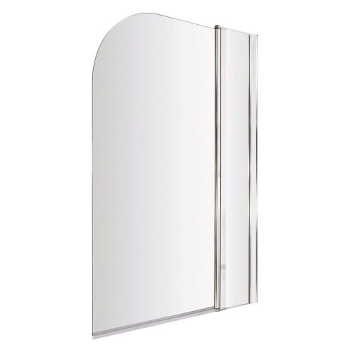 Ice Arched Hinged Plain Bath Screen & Fixed Panel 6mm